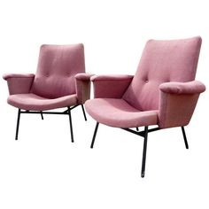 Pair of SK660 Pierre Guariche for Steiner Chairs, France, 1953 | From a unique collection of antique and modern armchairs at https://www.1stdibs.com/furniture/seating/armchairs/