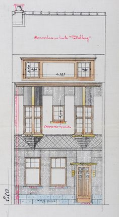 Schaerbeek - Rue Monrose 47, 49, 51 - EGGERICKX H. French Architecture, Architecture Drawings, Facade, House Plans, Ornament, Sketches, Random Drawings, Illustration, Dormitory