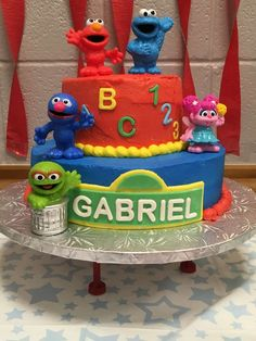 Check out the cool birthday cake at this Sesame Street Birthday Party! Sesame Street Birthday Cakes, Shark Birthday Cakes, Sesame Street Cake, Birthday Party Snacks, Elmo Party, Elmo Birthday, Cool Birthday Cakes, 2nd Birthday Parties, Birthday Ideas