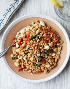 Mediterranean Farro Salad with sun-dried tomatoes, kale, feta and chickpeas | Orchard Street Kitchen