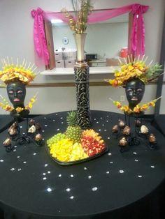 Fruit Arrangements, Party ideas, Fruit dislays, Fruit arrangement black mannequin head, party displays, fruit catering, diy fruit ideas, diy catering, diy party ideas, fruit on heads
