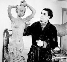 Joan Rebull, the refugee Catalon sculptor, who created the plaster heads of the dolls