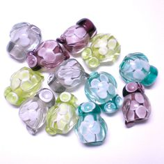 Lampwork Owl Beads  4 pieces by LynnetteJewelry on Etsy, $24.00