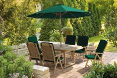 awesome Lorenzo Teak Garden Table and Folding Chairs Set - 6 Reclining Chairs with Cushions (Green) - Jati Brand, Quality & Value Buy this and much more home & living products at http://www.woonio.co.uk/p/lorenzo-teak-garden-table-and-folding-chairs-set-6-reclining-chairs-with-cushions-green-jati-brand-quality-value/