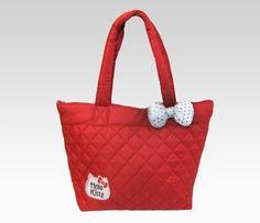 Hello Kitty Red Tote Bag: Silver Glitter Ribbon