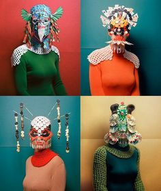 Mask melds – Cosplay meets avatar meets concealed identity in an age of privacy concerns. From opera posters to MacDonalds ads, this trend is popping up everywhere. Textiles, Arte Peculiar, Kreative Portraits, Foto Fashion, Illustration Mode, Masks Art, Club Kids, Art Plastique, Headdress
