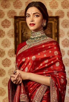 Deepika Padukone in 'The Sabyasachi Red' Benares Revival Saree from our Heritage Collection. Photo Courtesy : Nilaya by Asian Paints. Indian Bridal Outfits, Indian Bridal Fashion, Indian Designer Outfits, Indian Dresses, Sabyasachi Sarees, Lehenga Choli, Anarkali, Saris Indios, Indische Sarees