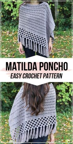 crochet Matilda Poncho with boho tassels free pattern - easy crochet poncho pattern for beginners Boho crochet Matilda Poncho with boho tassels easy pattern Crochet Shawls And Wraps, Crochet Scarves, Crochet Clothes, Crochet Hats, Crochet Shrugs, Crochet Sweaters, Crochet Dresses, Knitted Shawls, Ravelry Crochet