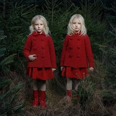 twin girls in red outfits