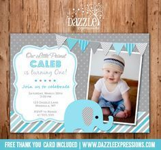 Boy Elephant First Birthday Photo Invitation