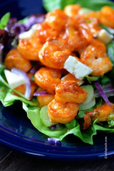 Buffalo Shrimp Salad // like wings BUTTTTT healthier, high in protein, low in carbs via Add a Pinch #appetizer #gameday
