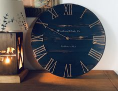 Big Wall Clocks, Blue Clocks, Clocks Back, Rustic Wall Clocks, Wood Clocks, Rustic Walls, Farmhouse Clocks, Modern Farmhouse, Dark Blue Walls