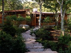 Architecture, Natural Rock Step Entrance: Chilmark House: Natural Atmosphere