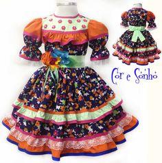 vestido-de-quadrilha-tamanho-4-a-anos-infantil Little Girl Fashion, Little Girl Dresses, Little Girls, Girls Dresses, Summer Dresses, Country Dresses, Little Princess, Kids Wear, Frocks
