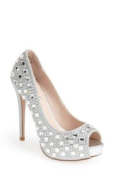 Lauren Lorraine 'Candy' Crystal Peep Toe Pump in black (Women) available at #Nordstrom
