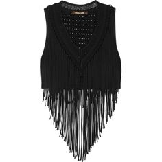 Roberto Cavalli Cropped fringed jersey top ($970) ❤ liked on Polyvore featuring tops, fringe, black, polka dot jersey, roberto cavalli, polka dot crop top, jersey crop top and jersey top