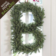 "Faux Spruce Alphabet Wreath: 24""H x 23""W x 4""D, on sale for $29 each  {Ballard Designs--also shown on site spelling out ""JOY"" across a wall of windows}"