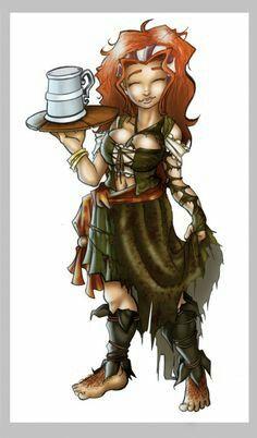 Female Halfling Wench - Pathfinder PFRPG DND D&D d20 fantasy