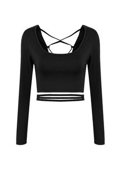 Black Lace-Up Back Crop Top
