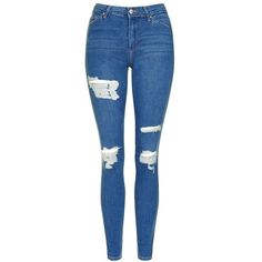 Women's Topshop Moto Leigh Super Ripped Ankle Skinny Jeans (€36) ❤ liked on Polyvore featuring jeans, pants, bottoms, pantalones, mid rise skinny jeans, blue distressed jeans, destroyed skinny jeans, denim skinny jeans and blue ripped jeans