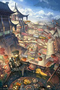 Fantasy City, Fantasy Places, Fantasy World, Fantasy Art Landscapes, Fantasy Landscape, Landscape Art, Fantasy Concept Art, Landscape Concept, Cyberpunk Art
