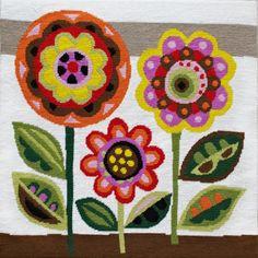 MidCentury Flowers needlepoint by emilypeacocktapestry