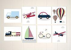 Transportation nursery art, baby boy nursery, airplane, hot air balloon, boat, train, bike, truck, set of 8, custom colors