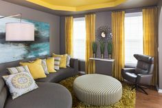 Living Room Decor Gray And Yellow Versace Set Rooms Decorating Grey Color Trends With
