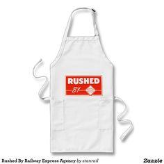 """Rushed By Railway Express Agency Long Apron: $23.95 - #stanrail -  Long Apron Whether you're gardening, painting or BBQ'ing, you'll stop the splatters with our extra long twill apron. It has two side pockets to keep your things handy. Made from a 35/65 cotton-poly blend, it's machine washable. 30"""" L x 24"""" W. Made in the USA. @stanrails_store"""