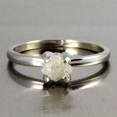 14K+White+Gold+Ring++ProngSet+Rough+Diamond+by+LiansElegance,+$279.00
