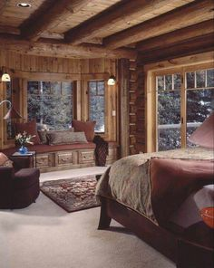 Love this room, the colors and the wood and the window seat