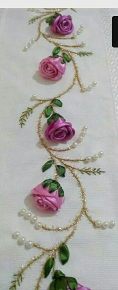 Wonderful Ribbon Embroidery Flowers by Hand Ideas. Enchanting Ribbon Embroidery Flowers by Hand Ideas. Ribbon Embroidery Tutorial, Embroidery Flowers Pattern, Rose Embroidery, Learn Embroidery, Silk Ribbon Embroidery, Embroidery Patterns, Embroidery Thread, Embroidery Supplies, Custom Embroidery