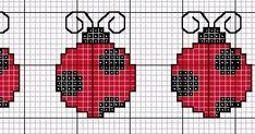 Bordado Passo a Passo: Gráficos de joaninhas