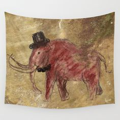 Cave art vintage mamut. Wall Tapestry by Barruf | Society6