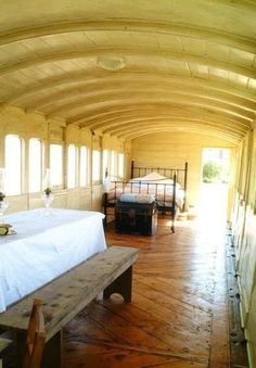 This converted train car carriage makes for an amazing home! You'll need a Port-o-Potty though since it doesn't have a bathroom.