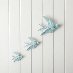 Set Of 3 Ceramic Swallows - White: Vintage charm and a little bit of kitsch - these ceramic swallows are both pretty and quirky.   - Available in Duck Egg and Cream.