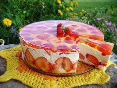 Sernik na zimno z twarogu z truskawkami Sweets Cake, Cookie Desserts, Baking Recipes, Cake Recipes, Yummy Food, Tasty, Food Cakes, Cake Cookies, Sweet Recipes
