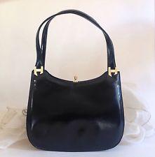 Debonair 1960s Vintage Handbag Black Leather With Cream Suede Lining Mad Men