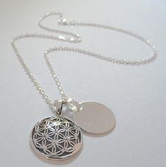 925er Silber Halskette Blume des Lebens mit Wunschgravur