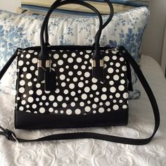 """DASEIN POLKA DOT PURSE 10""""x13"""" PATENT LEATHER AND BLACK FAUX LEATHER PURSE. HAS CROSSBODY STRAP . TWO ZIPPER POCKETS INSIDE WITH PHONE POCKET AND OTHER POCKET. ZIP CLOSURE WITH SILVER HARDWARE. NEW DANSEIN Bags"""