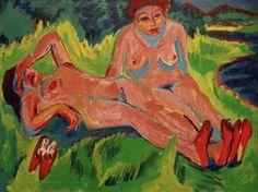 Due nudi rosa al lago - Ernst Ludwig Kirchner Paintings Ernst Ludwig Kirchner, Davos, Karl Schmidt Rottluff, George Grosz, Emil Nolde, Expressionist Artists, German Expressionism Art, Monet Paintings, Amedeo Modigliani