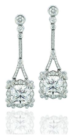 Forevermark by A. Link Ideal Cushion Empress drop diamond earrings set in 18k white gold.