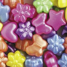 PB62 P-M5  - hearts, flowers, butterflies & stars pony beads - pearl mixed colours
