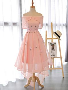 Hot Sale Appealing Homecoming Dresses Short A-line Off-the-shoulder Asymmetrical Short Tulle Homecoming Dress/Short Dress # A Line Prom Dresses, Flower Dresses, Pretty Dresses, Homecoming Dresses, Sexy Dresses, Beautiful Dresses, Evening Dresses, Fashion Dresses, Awesome Dresses