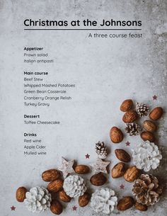 Use this stunning editable Christmas menu template and surprise your guests. This free editable Christmas menu template is as easy to edit as a few clicks. Don't forget to share your final Christmas menu layout with us! Free Menu Templates, Cranberry Orange Relish, Toffee Cheesecake, Prawn Salad, Menu Layout, Turkey Gravy, Dessert Pizza, Christmas Dishes, Green Bean Casserole