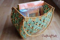 Bag basketMedium Macrame Curved rectangular shapeHandmade