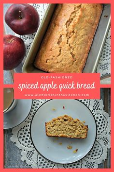This is a classic quick bread recipe. It's a perfect treat any time of the year, but I love to bake it in the fall when the warm spices are in the air and the apple harvest is at its peak! #quickbread #quickbreadrecipes #fallrecipes #oldfashionedquickebreadrecipes #oldfashionedrecipes #applebread #applebreadrecipes #applequickbread #brunch #breakfast #brunchrecipes #breakfastbreads #breakfastbreadrecipes