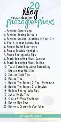 20 blog post ideas for photographers   #blogging #photography #senior #engagement #wedding #family #boss #tips #website