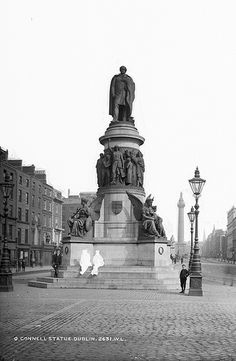 Written out of history: This is a fantastic Lawrence image of the O'Connell Monument, on what was then Sackville Street in Dublin. But what's fascinating is the excision of the two characters who were obviously taking their ease on the steps of the plinth. This photo was taken circa 1890 in Dublin (Ireland)