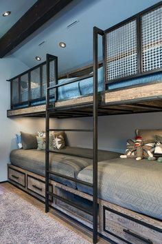 When you select your bunk beds, you should then always think of the most appropriate portion of the room to set them. The bunk beds are so helpful for elders also. Bunk beds for… Continue Reading → Bunk Bed Rooms, Bunk Beds Built In, Modern Bunk Beds, Cool Bunk Beds, Kids Bunk Beds, Boys Bunk Bed Room Ideas, Rustic Bunk Beds, Cabin Bunk Beds, Three Bed Bunk Beds